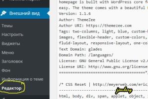 Редактирование в шаблоне WordPress