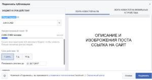Поля настройки поста, для продвижения в Фейсбук